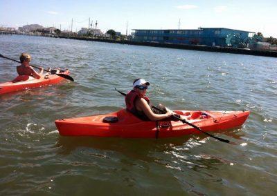 Kayaking the coast.