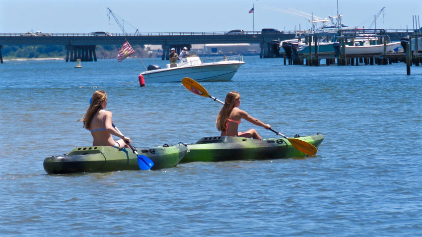 Kayakers enjoying the waters in Atlantic Beach